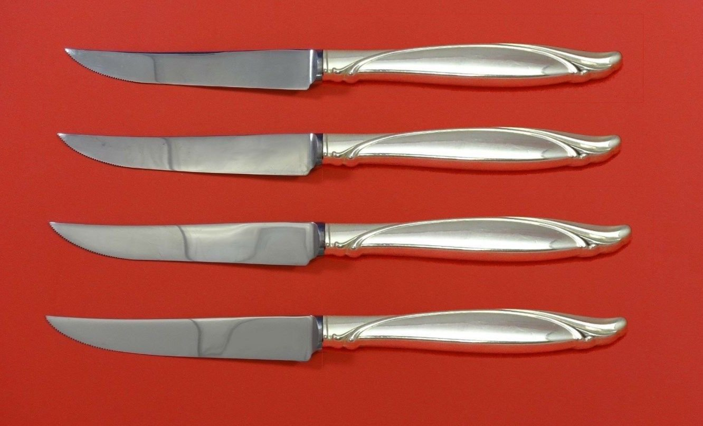 "Sentimental by Oneida Sterling Silver Steak Knife Set 4pc HHWS  Custom 8 1/2"""