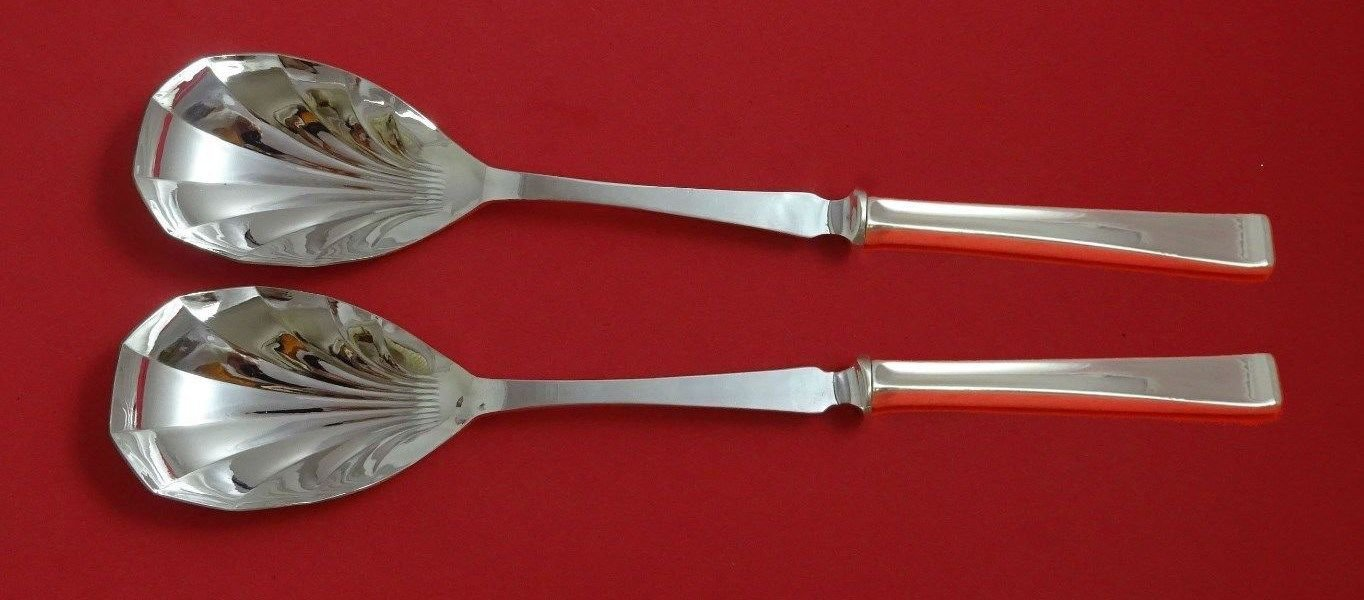 "Theme by Gorham Sterling Silver Salad Serving Set 2pc Fluted HH 11 3/8"" Custom"