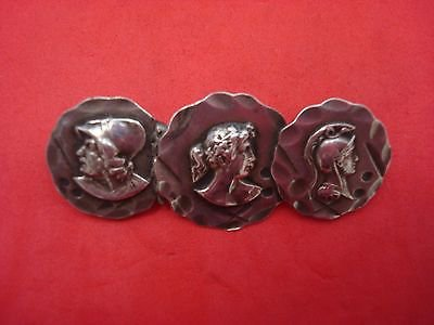 """Medallion Sterling Silver Bar Pin with Three Medallions 2"""" Long X 3/4"""" Diameter"""
