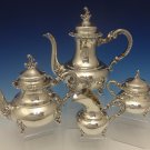 Heidelberg German Sterling Silver Tea Set 4pc w/Rococco Swirls & Flowers #0433