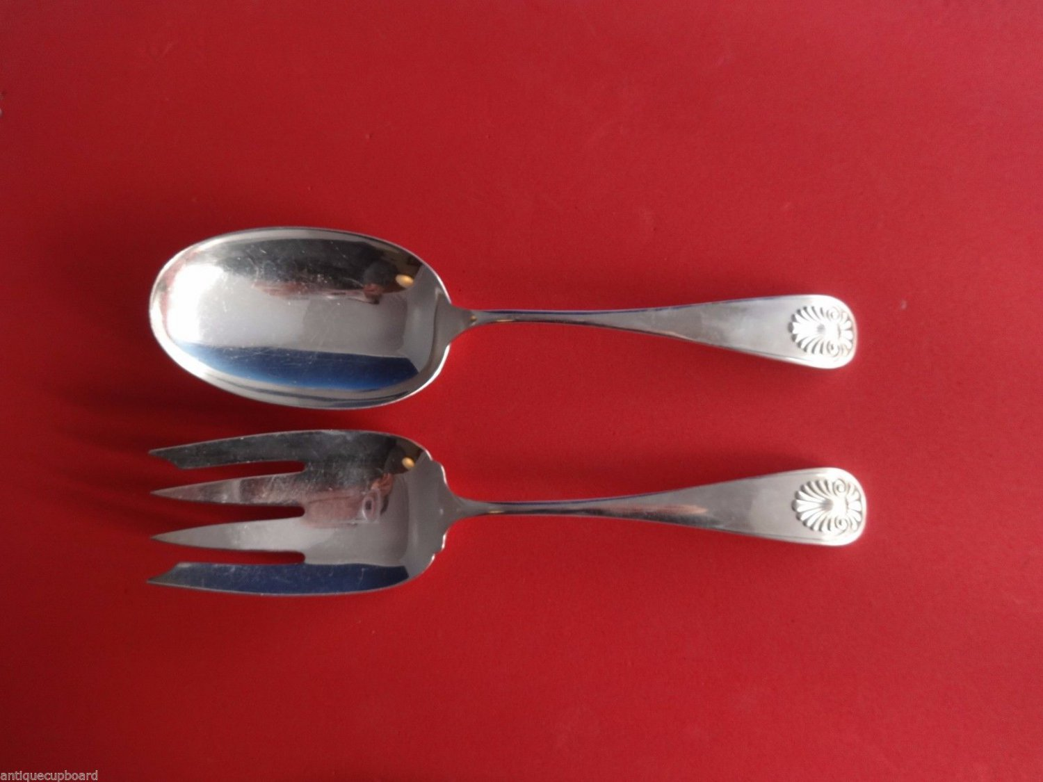 Shell by Frank Whiting Sterling Silver Salad Serving Set 2pc 8 3/4""