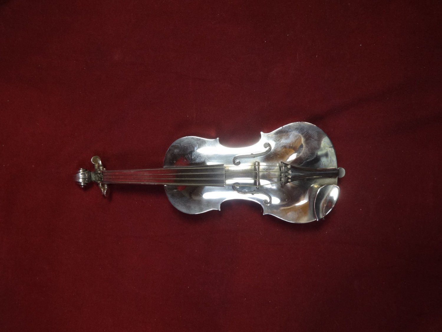"""Ole Petersen Sterling Silver Violin with Secret Compartment 1969 11 3/8"""""""