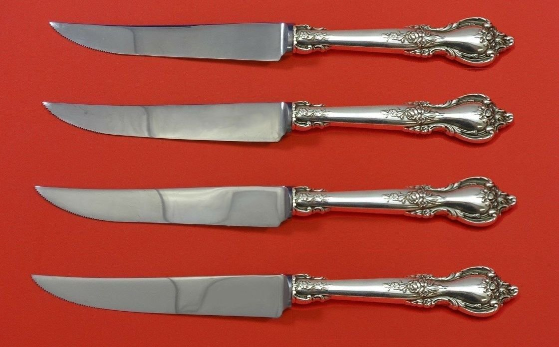 "Delacourt by Lunt Sterling Silver Steak Knife Set 4pc HHWS  Custom Made 8 1/2"""