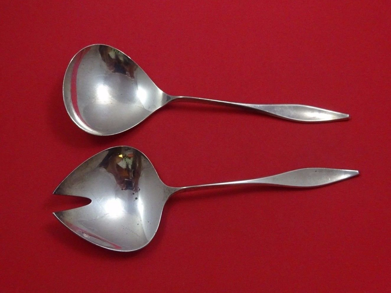 Lark by Reed and Barton Sterling Silver Salad Serving Set 2pc AS 8 1/2""
