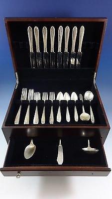 Margaret Rose by National Sterling Silver Dinner Flatware Set 8 Service 43 Pcs