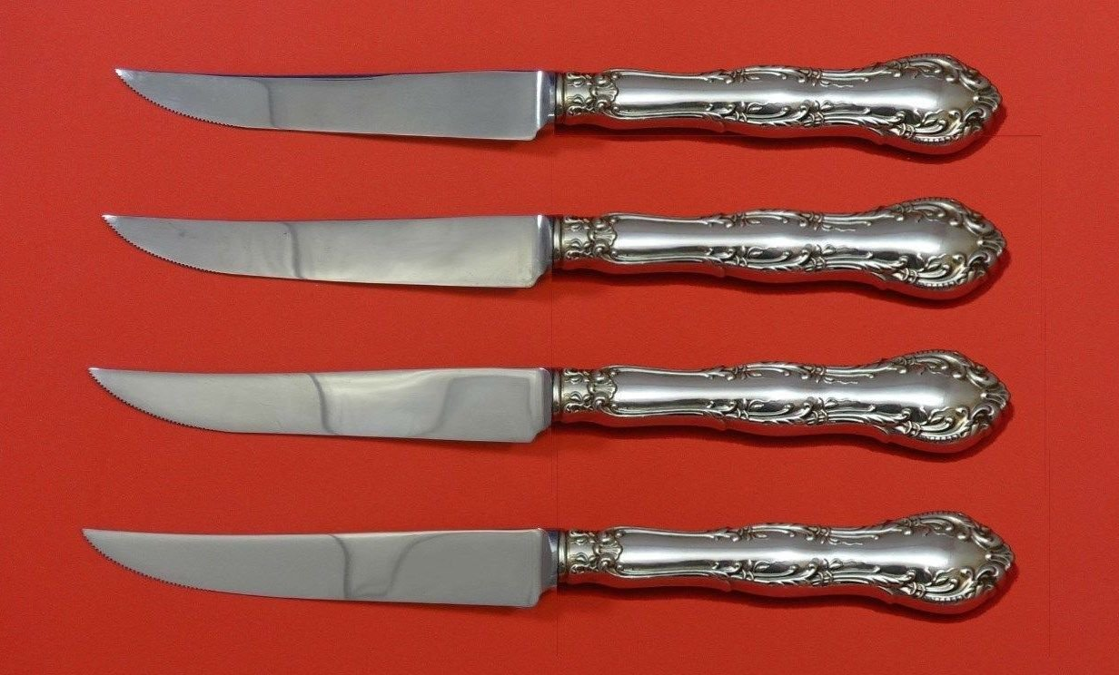 Old Atlanta by Wallace Sterling Silver Steak Knife Set 4pc HHWS  Custom 8 1/2""