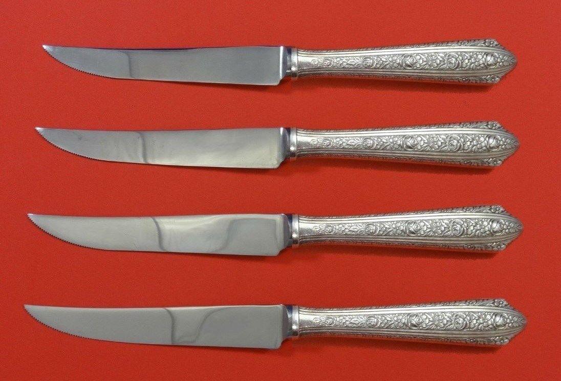 "Normandie by Wallace Sterling Silver Steak Knife Set 4pc HHWS  Custom 8 1/2"""