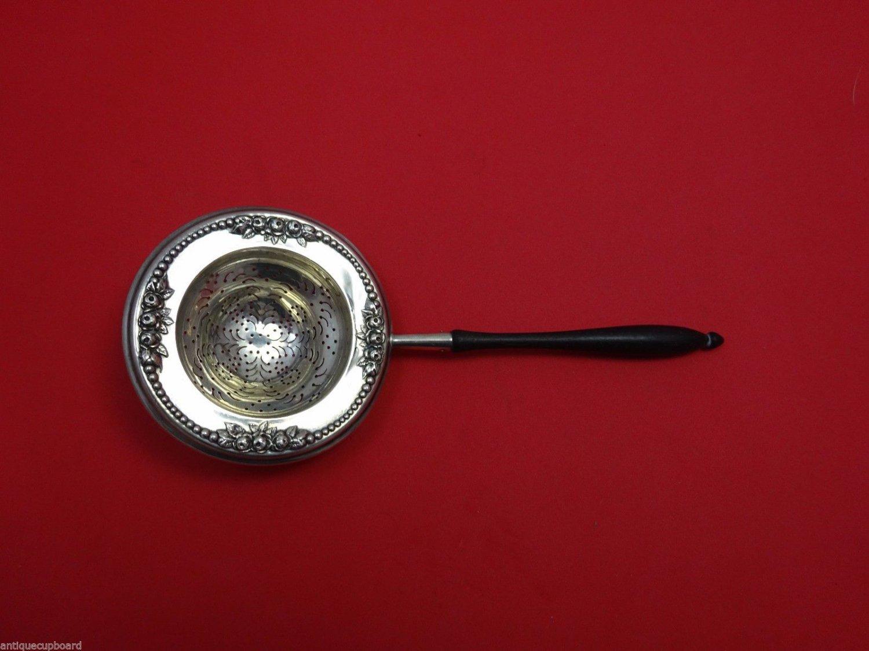 "Lancaster by Gorham Sterling Silver Tea Strainer w/Ebony Handle 7 1/4"" Rare!"