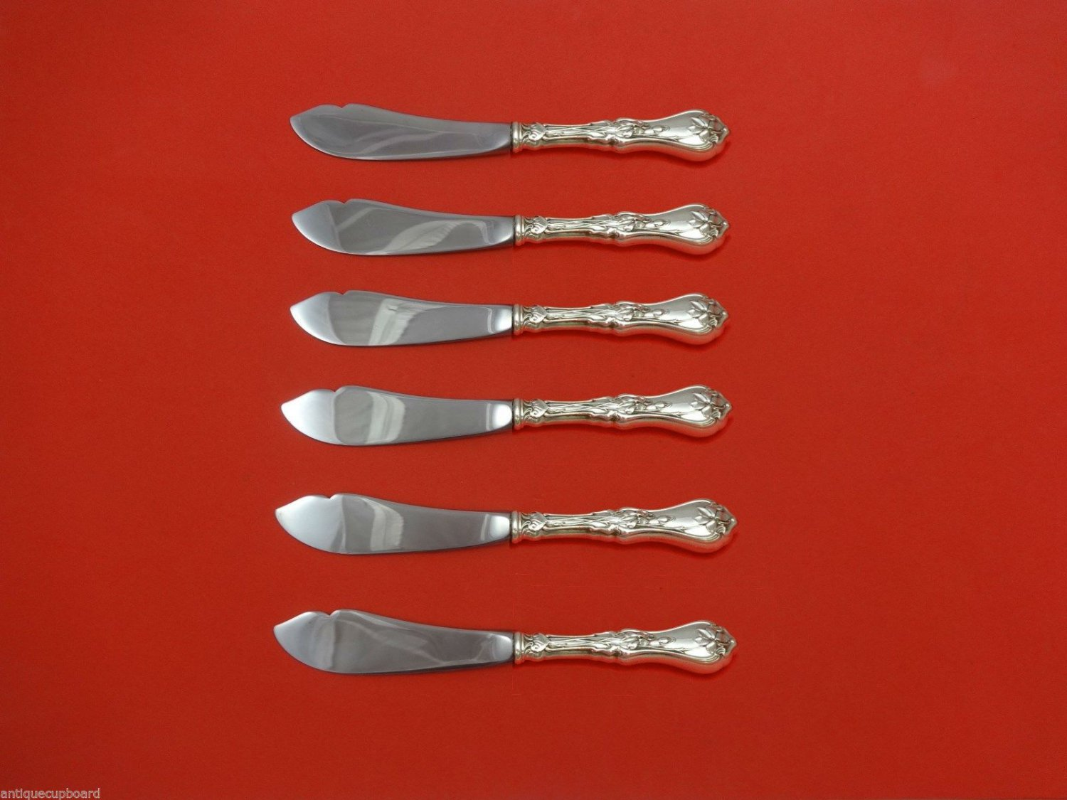 """Violet by Whiting Sterling Silver Trout Knife Set 6pc. HHWS  Custom Made 7 1/2"""""""