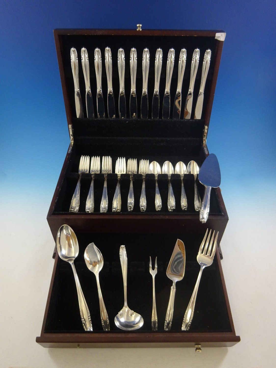Stradivari by Wallace Sterling Silver Flatware Set For 12 Service 55 Pieces