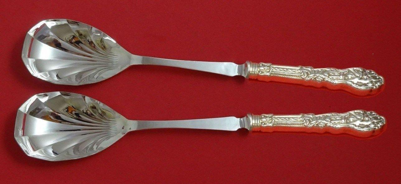 "Versailles by Gorham Sterling Silver Salad Serving Set 2pc Fluted Custom 11 3/8"""