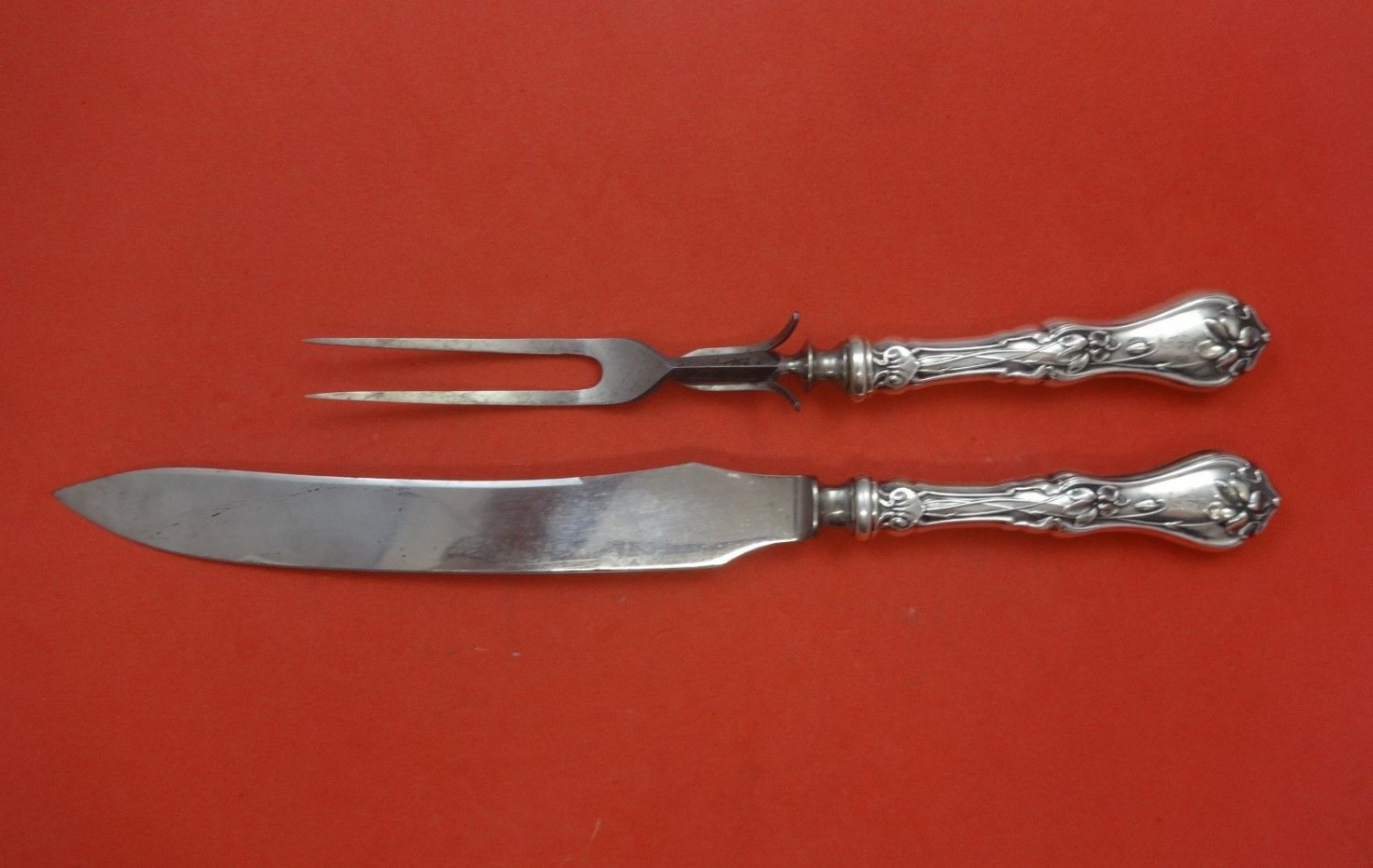 Violet by Whiting Sterling Silver Roast Carving Set 2pc HHWS  with Guard