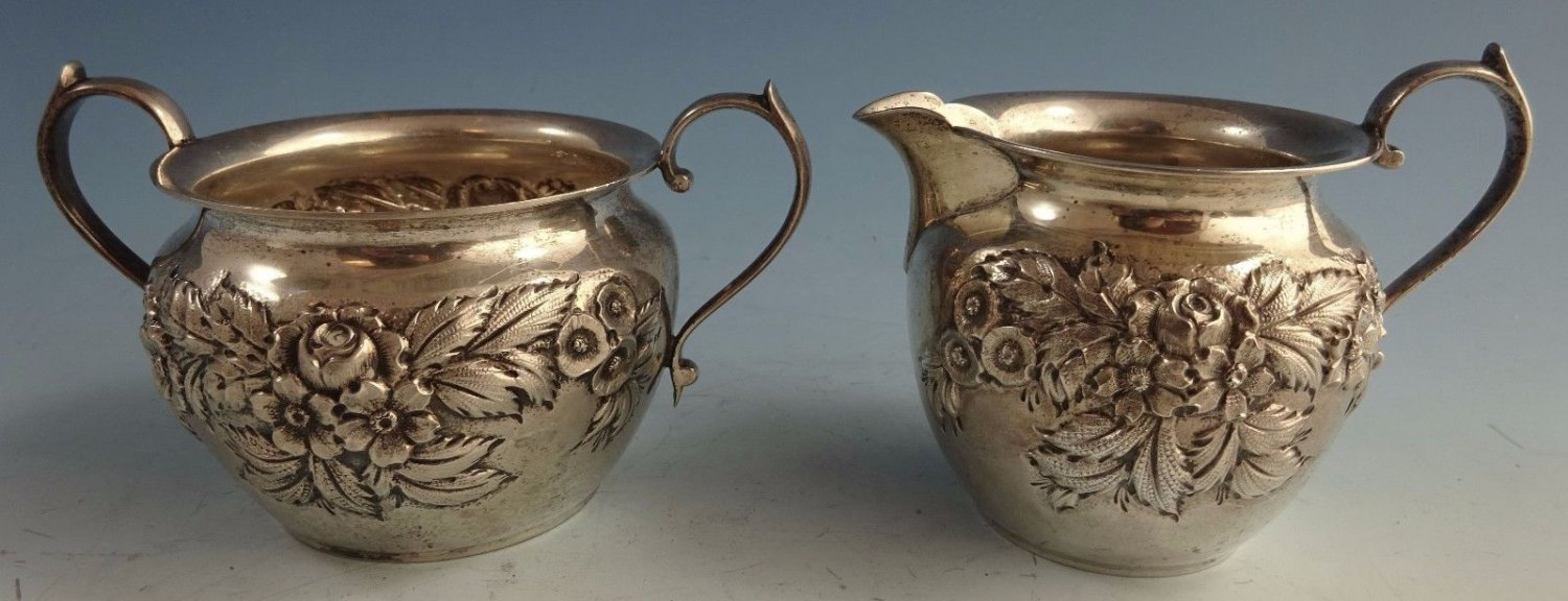Repousse by Kirk Sterling Silver Sugar and Creamer Set 2pc #615B (#1441)
