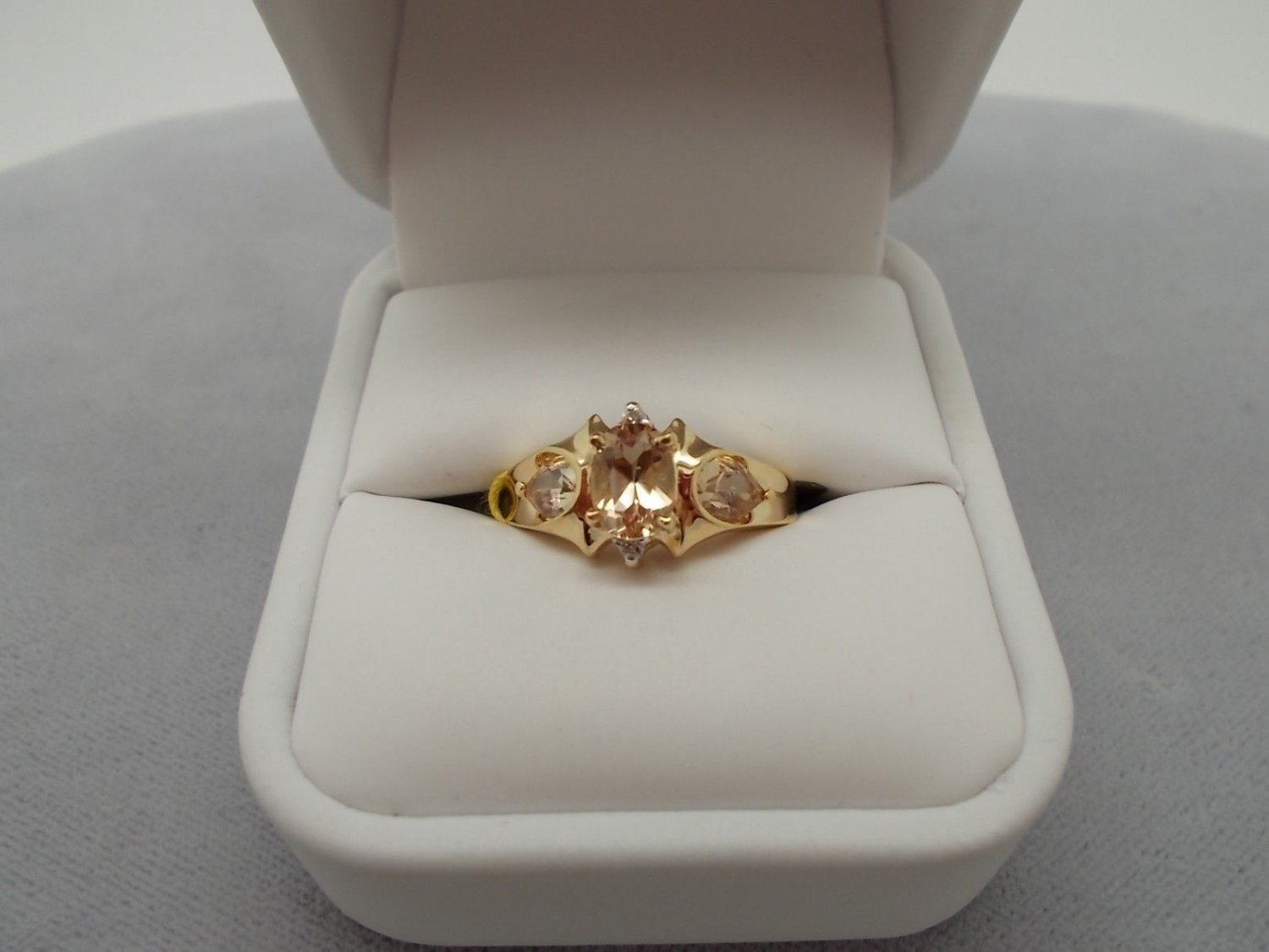 10K Gold 1ct Precious Genuine Natural Topaz Ring with Diamonds (#684)