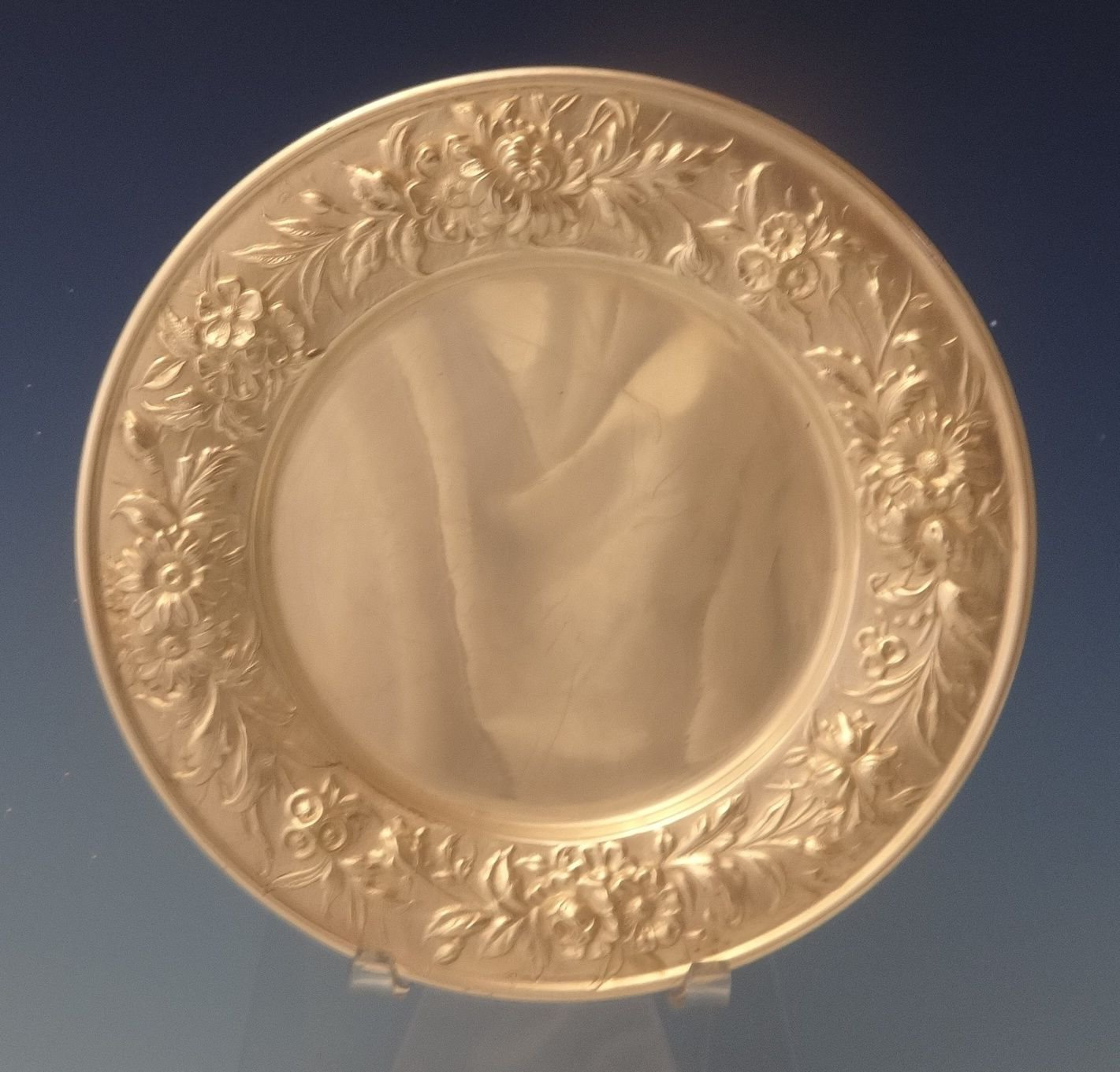 """Repousse by Kirk Sterling Silver Bread and Butter Plate 1/4"""" X 6"""" #127F (#0097)"""