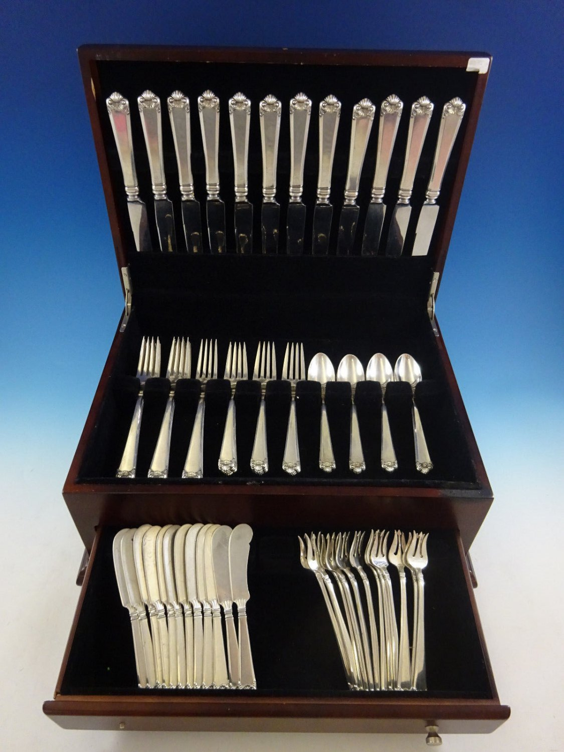 George II by Watson Sterling Silver Flatware Service For 12 Set 72 Pieces