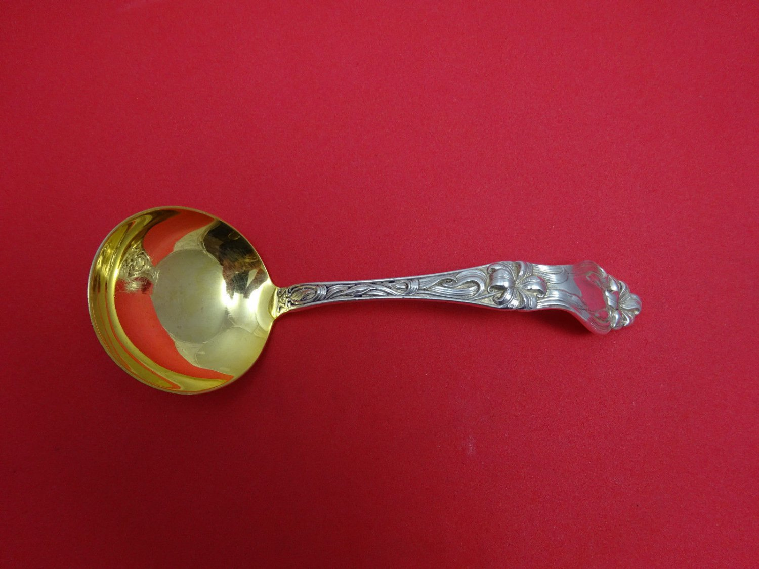 Lily by Frank Whiting Sterling Silver Sauce Ladle Gold Washed 6 1/2""