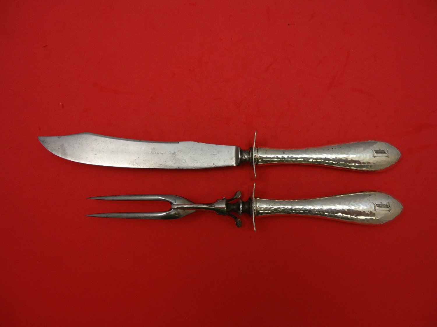 "Antique by Shreve Sterling Silver Steak Carving Set 12"" 2pc"
