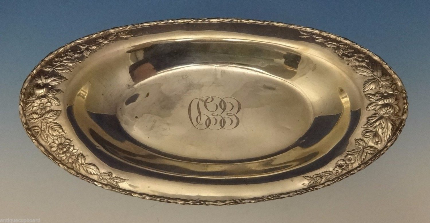 """Repousse by Kirk Sterling Silver Bread Tray 12 1/2"""" X 6 3/4"""" #266F (#0560)"""