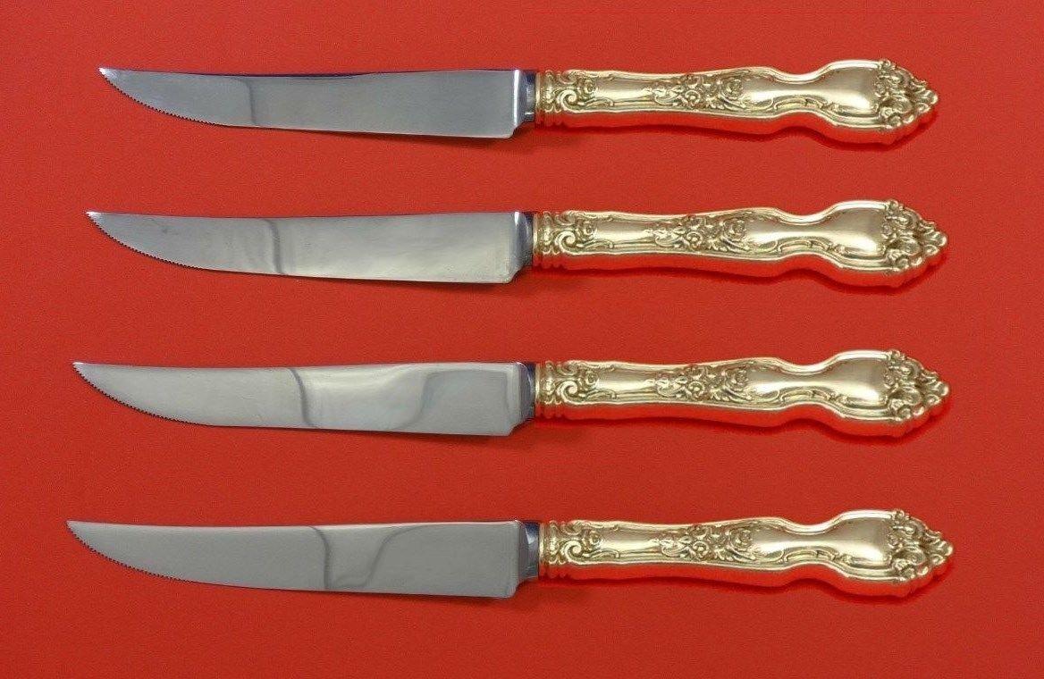 """La Reine by Wallace Sterling Silver Steak Knife Set 4pc HHWS  Custom Made 8 1/2"""""""
