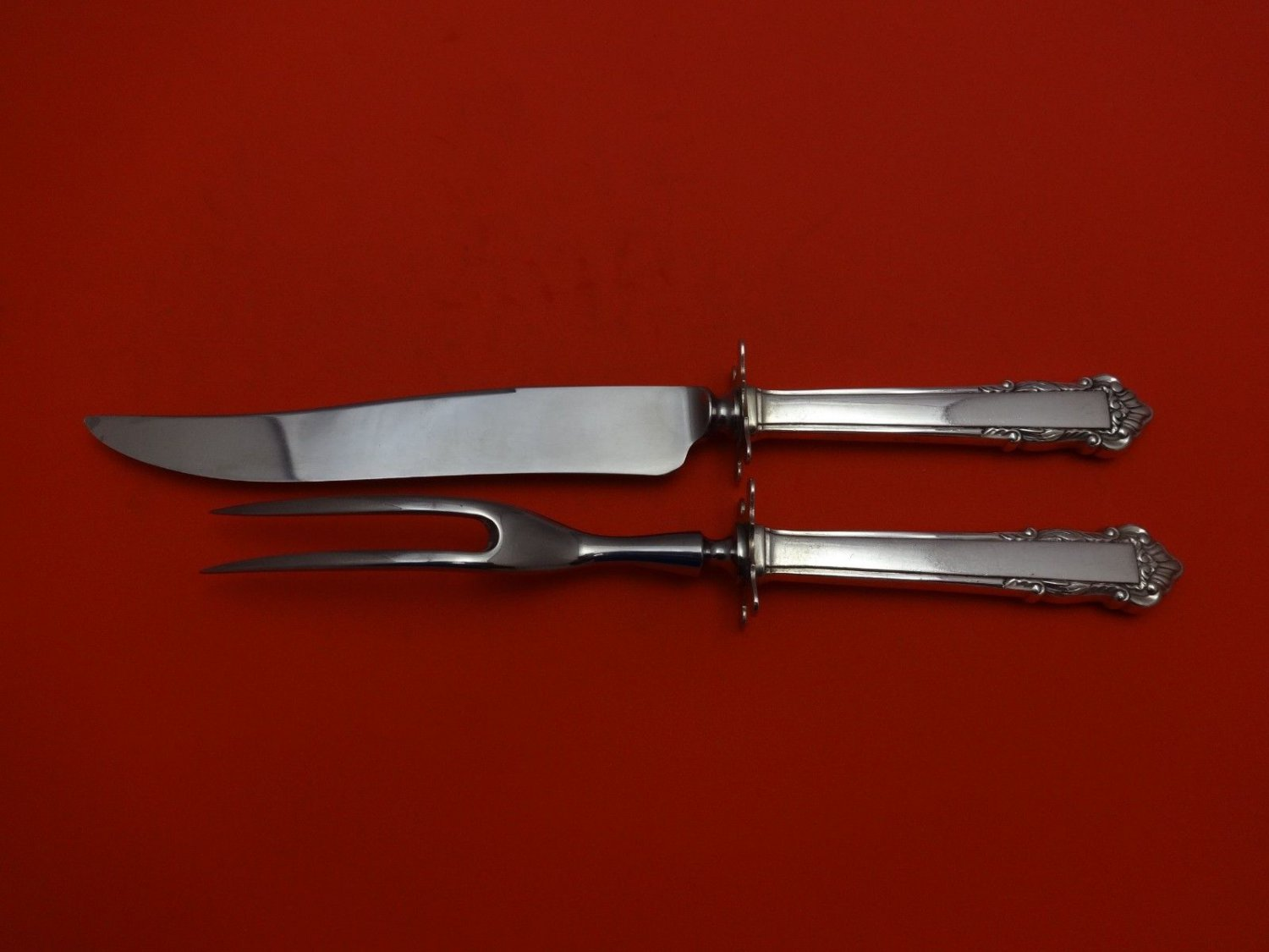 English Shell by Lunt Sterling Silver Steak Carving Set 2pc 10 1/4""