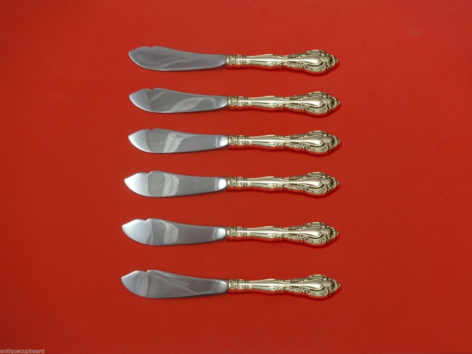 Vivaldi by Alvin Sterling Silver Trout Knife Set 6pc. HHWS  Custom Made 7 1/2""