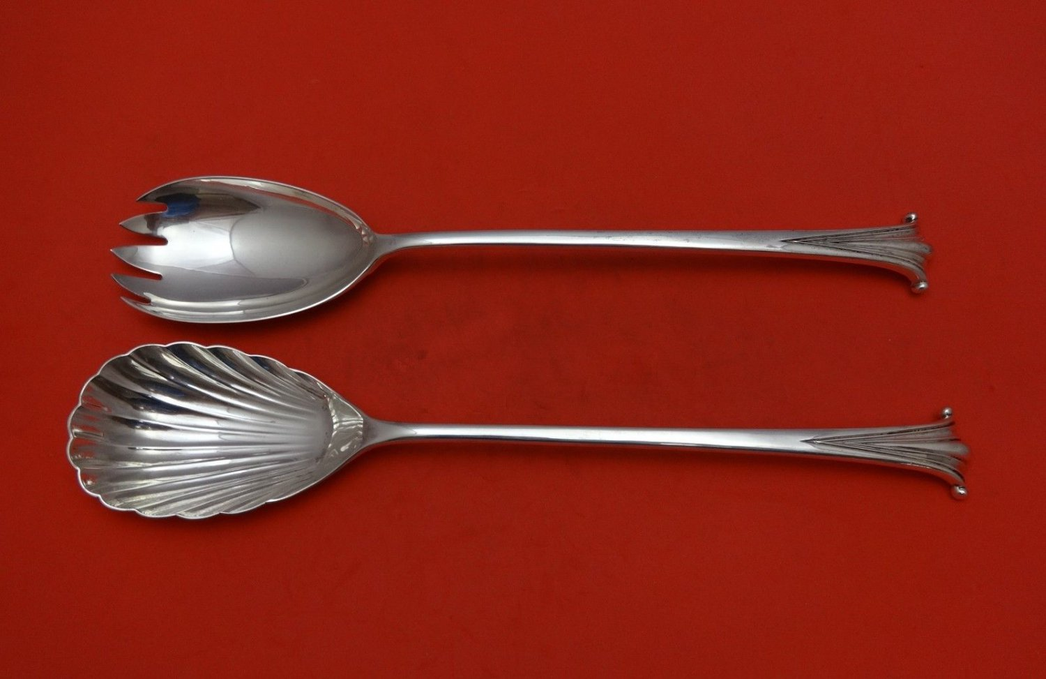 English Onslow by Worcester Sterling Silver Salad Serving Set 2pc Long 11 1/4""