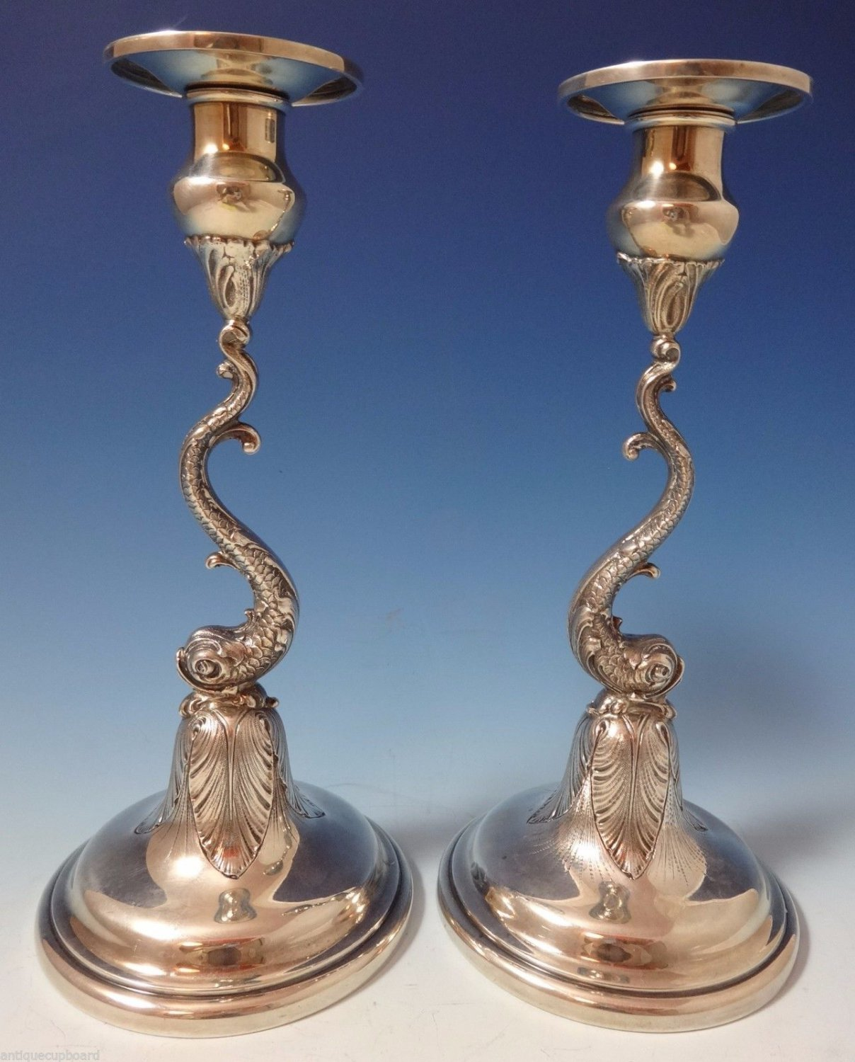 "Redlich & Co. Sterling Silver Candlestick Pair 2pc 3-D Dolphins 9 3/4"" #1061"
