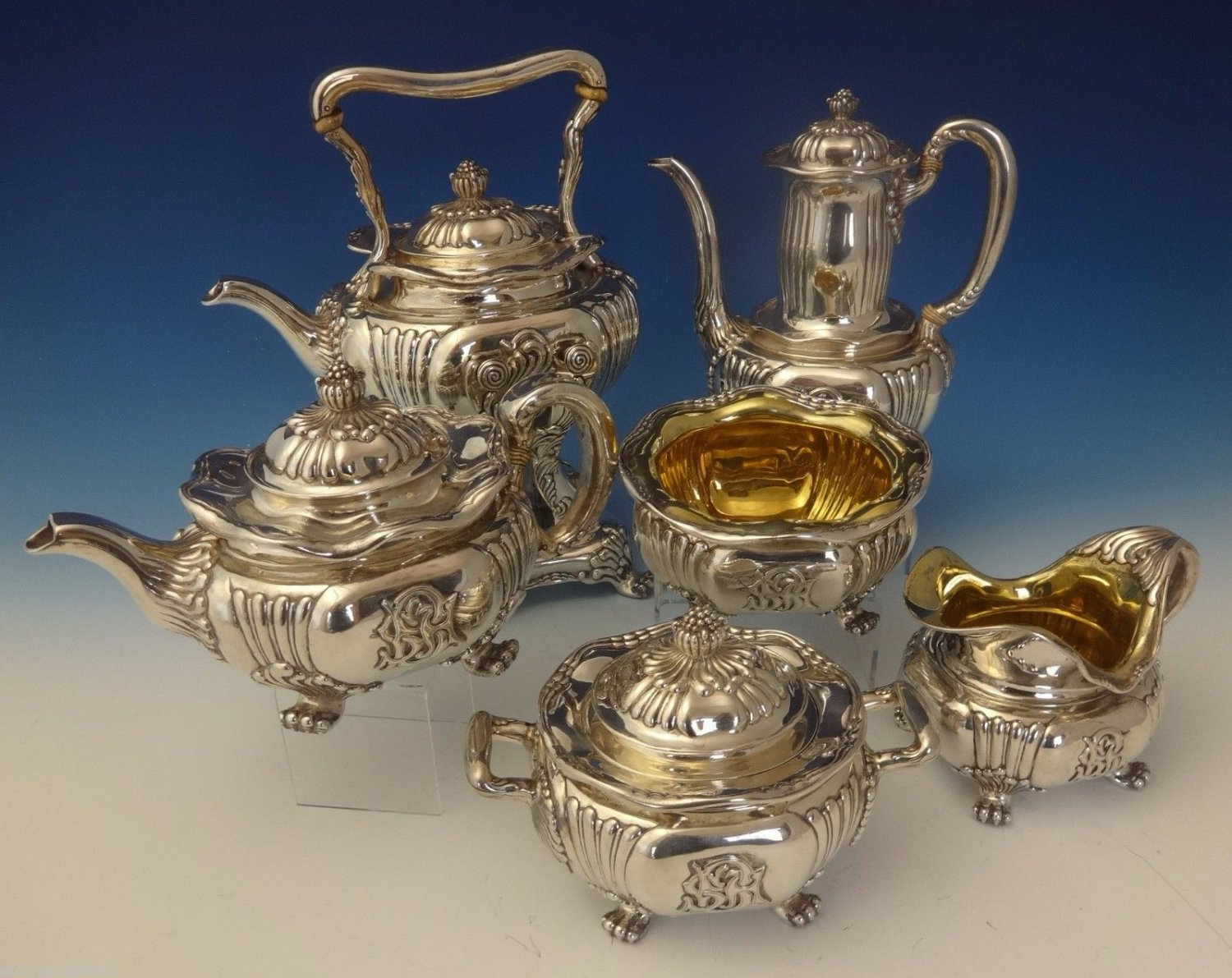 Tiffany & Co. Sterling Silver Tea Set w/Chrysanthemums 6pc One-Of-A-Kind #0157