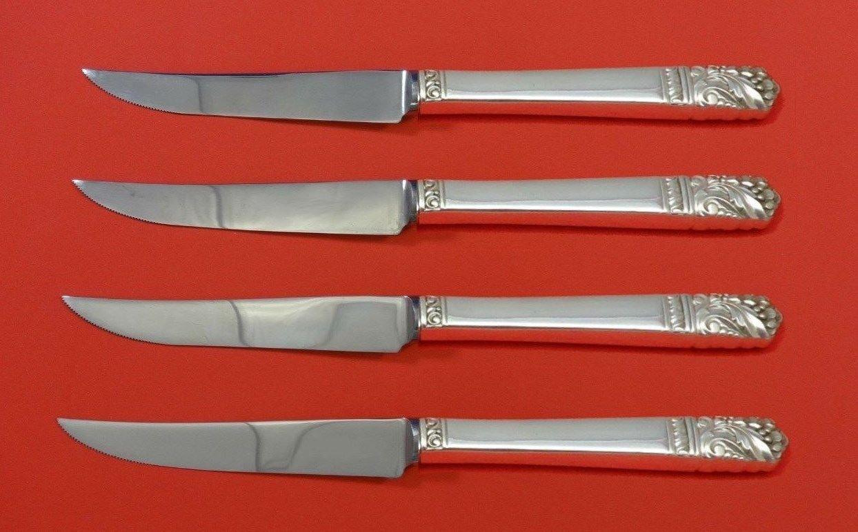 "Mansion House by Oneida Sterling Silver Steak Knife Set 4pc HHWS  Custom 8 1/2"""