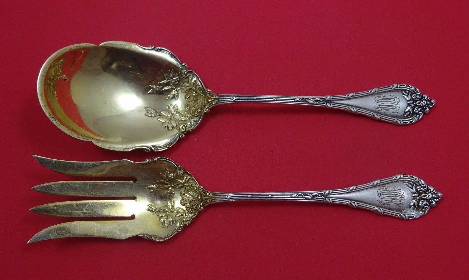 Madame Royale by Durgin Sterling Silver Salad Serving Set 2pc Gold Washed 9""