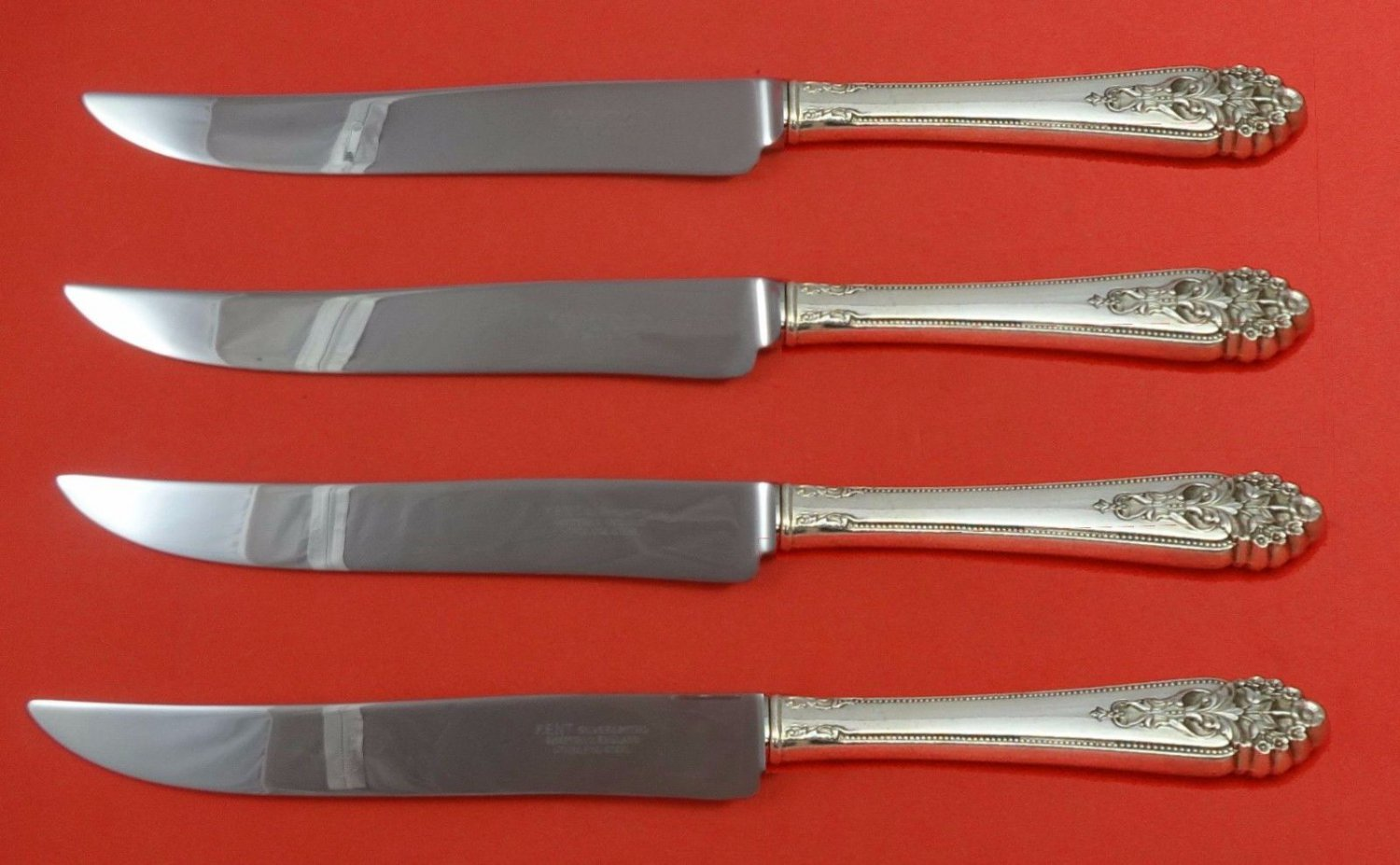 Queen'S Lace by International Sterling Silver Steak Knife Set Texas Sized Custom