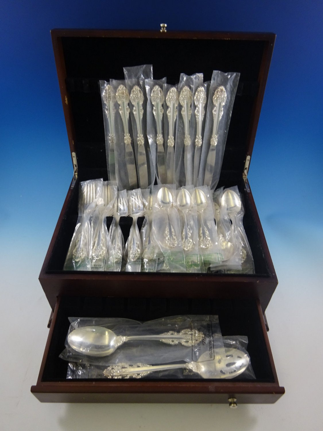 Chambord by Reed and Barton Silverplate Flatware Set For 8 Service 50 Pieces New