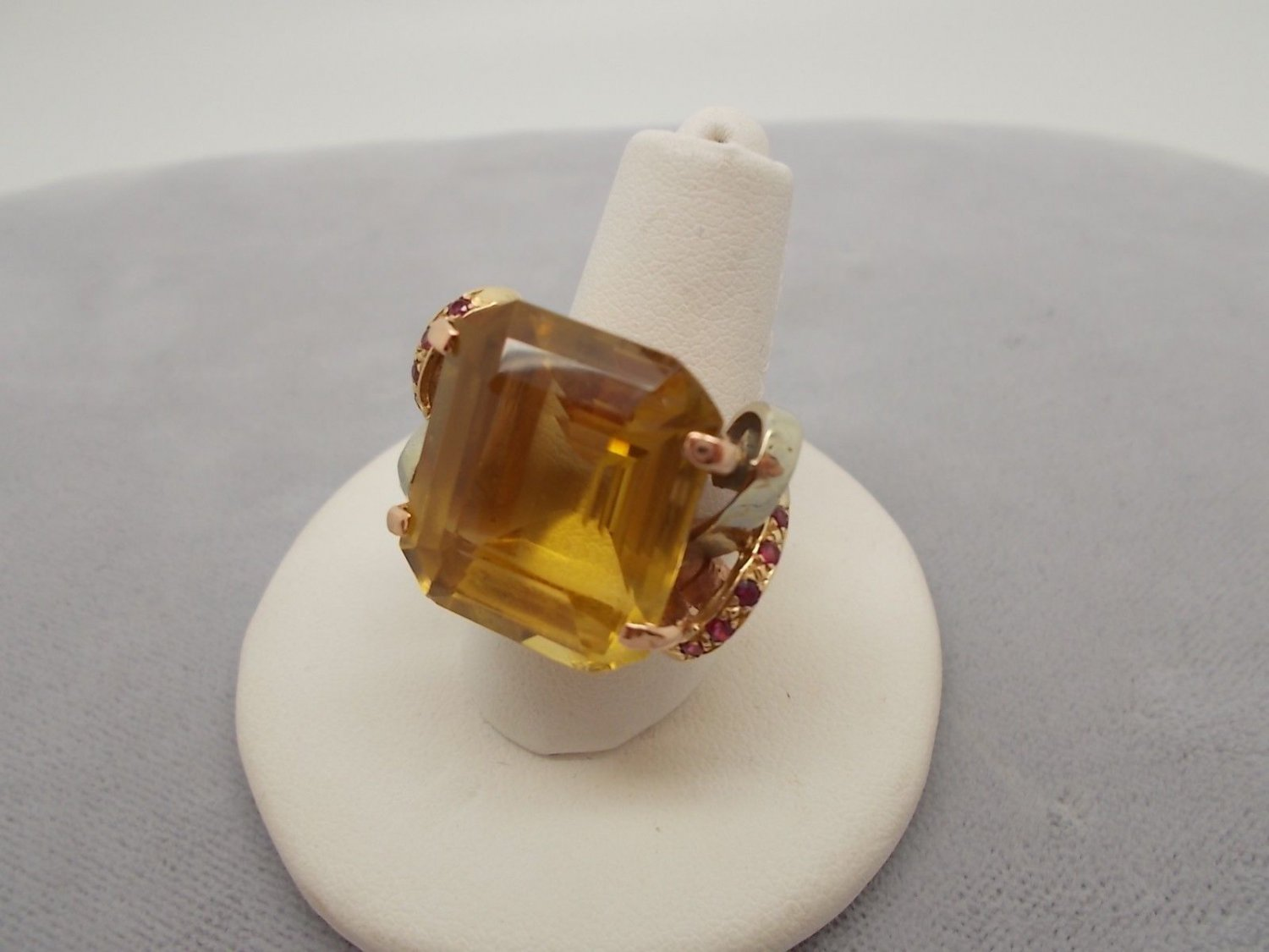 14K Gold Retro Ring with Large Genuine Natural Citrine and Rubies (#653)