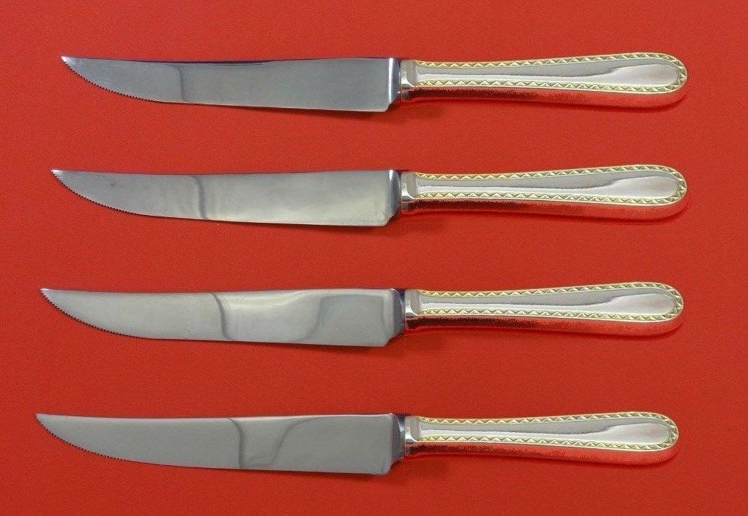 """Golden Winslow by Kirk Sterling Silver Steak Knife Set 4pc HHWS  Custom 8 1/2"""""""