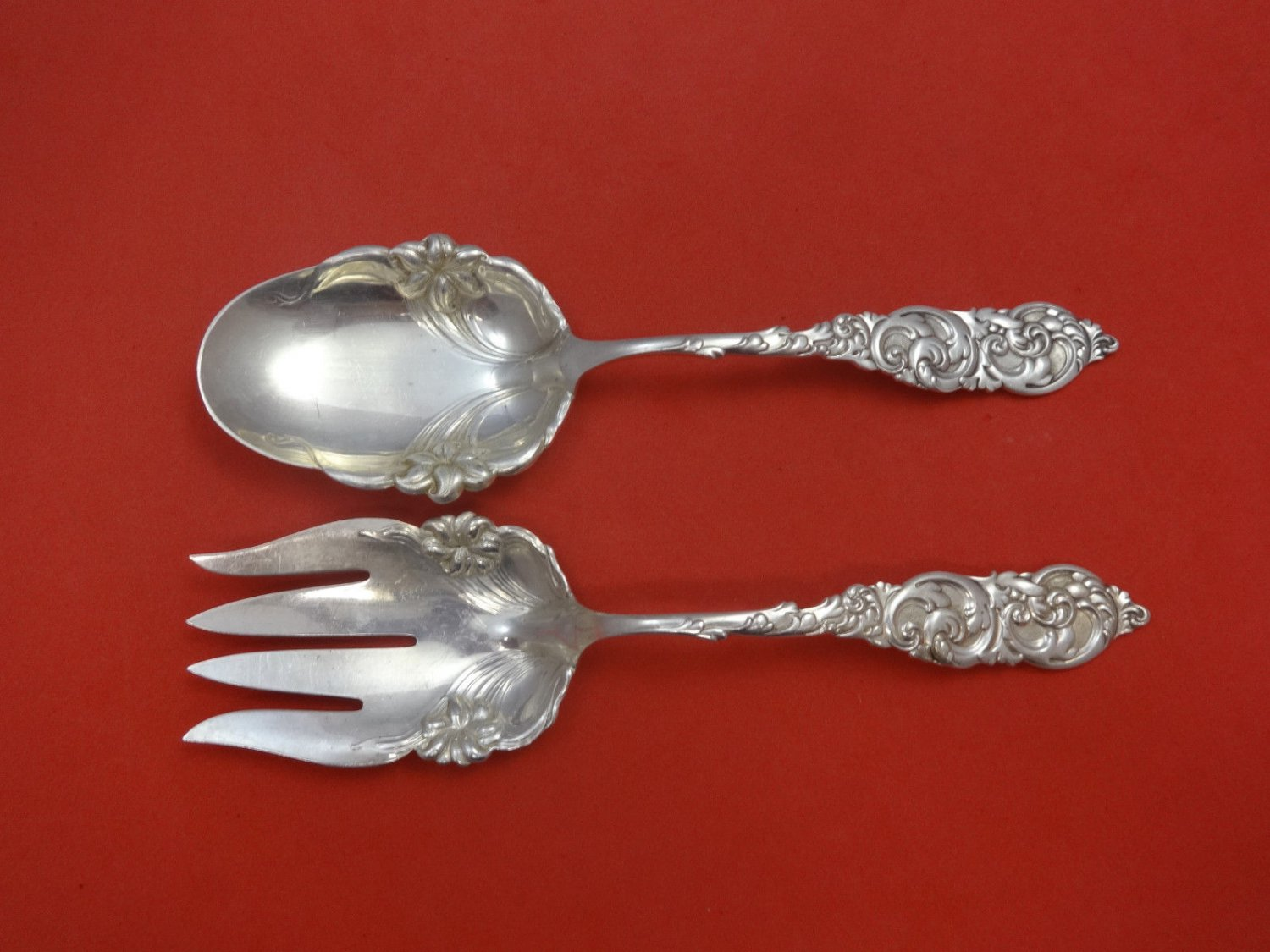 """Gladstone by Frank Whiting Sterling Silver Salad Serving Set All Sterling 9 1/4"""""""