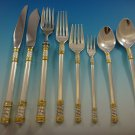 Aegean Weave Gold by Wallace Sterling Silver Flatware Set 8 Service 77 Pieces