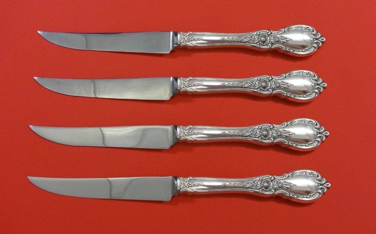 """Charlemagne by Towle Sterling Silver Steak Knife Set 4pc HHWS  Custom 8 1/2"""""""
