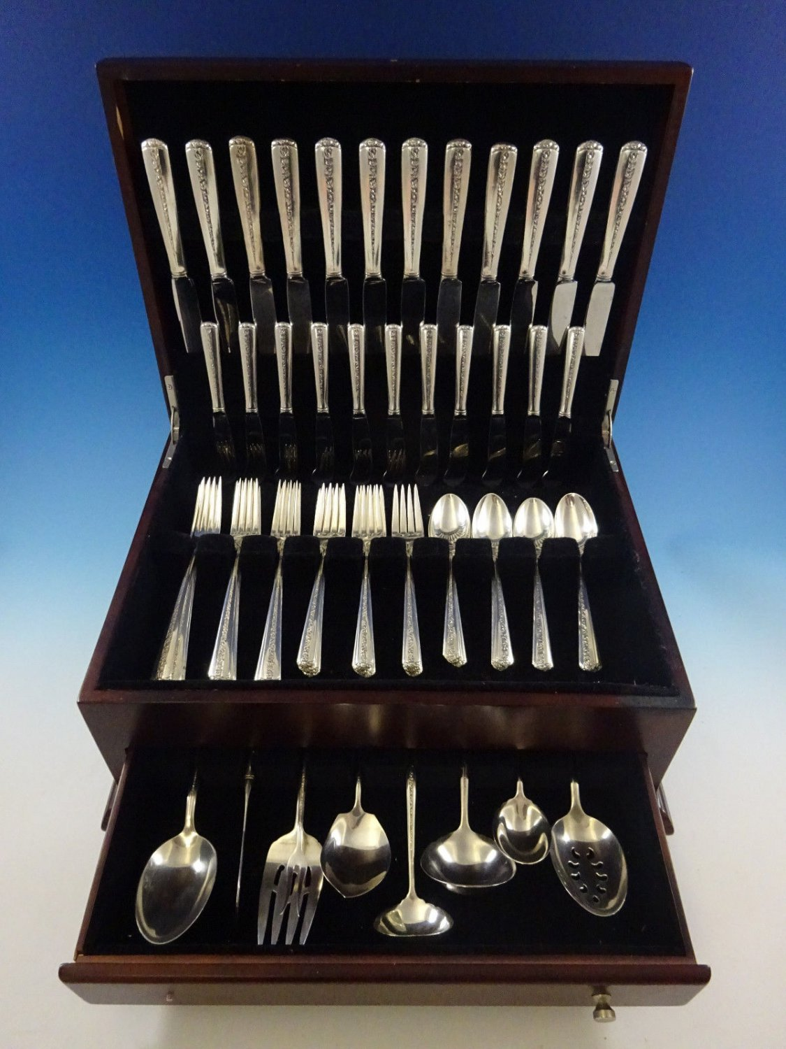 Rambler Rose by Towle Sterling Silver Flatware Set For 12 Service 69 Pcs