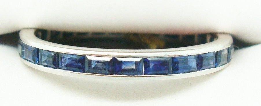 14K Gold Eternity Ring Band with 2ct Genuine Natural Blue Sapphires (#2255)