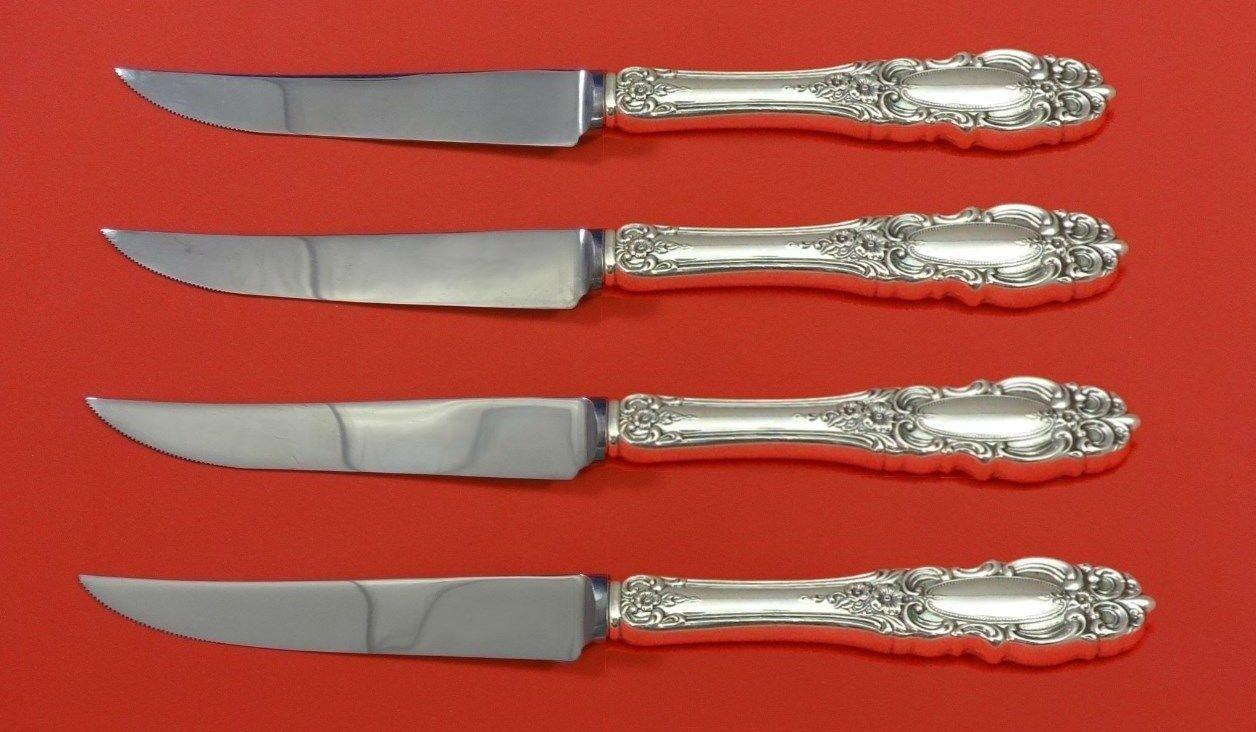 "Grand Duchess by Towle Sterling Silver Steak Knife Set 4pc HHWS  Custom 8 1/2"""