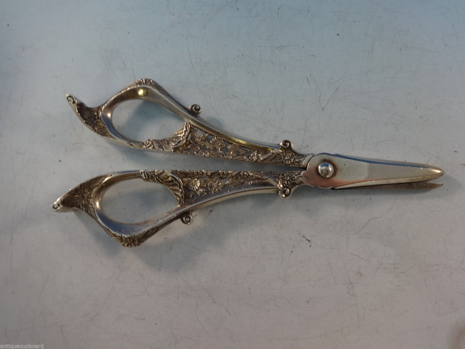 "Sterling Silver Shears Pierced Hand Chased Black Starr & Frost 6 1/4"" C1890'S"