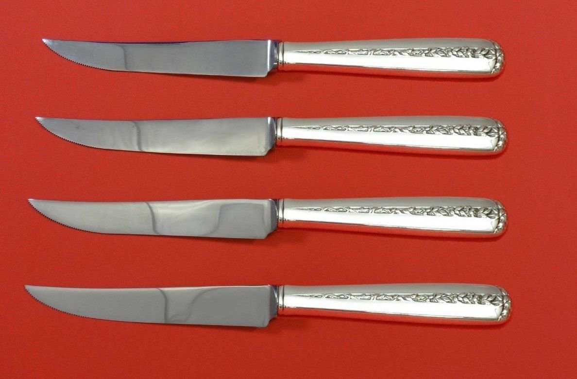 Rambler Rose by Towle Sterling Silver Steak Knife Set 4pc HHWS  Custom 8 1/2""