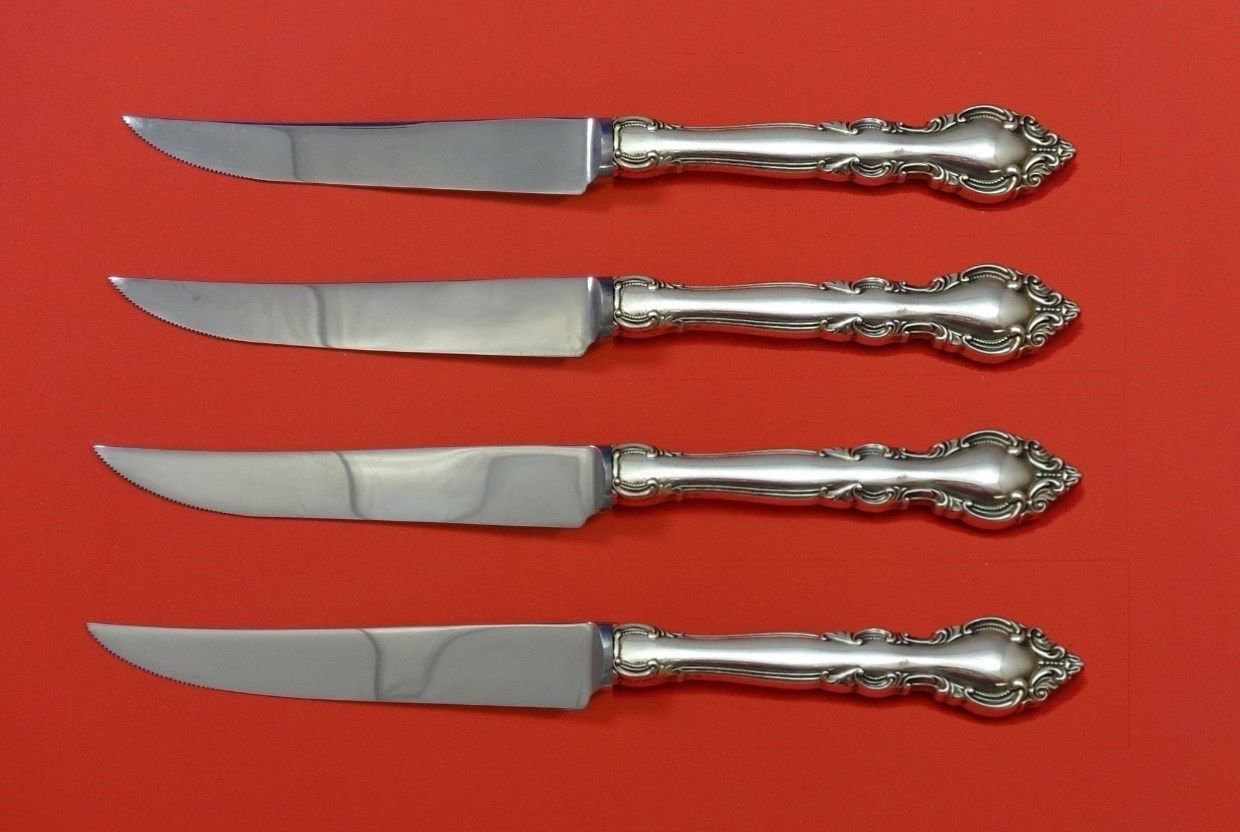 Malvern by Lunt Sterling Silver Steak Knife Set 4pc HHWS  Custom Made 8 1/2""