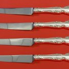 "Melrose by Gorham Sterling Silver Steak Knife Set 4pc HHWS  Custom Made 8 1/2"""
