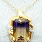 10K Gold 6ct Genuine Natural Ametrine Pendant with Diamonds (#2916)