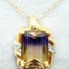 10K Gold 6ct Genuine Natural Ametrine Pendant with Diamonds (#2916)