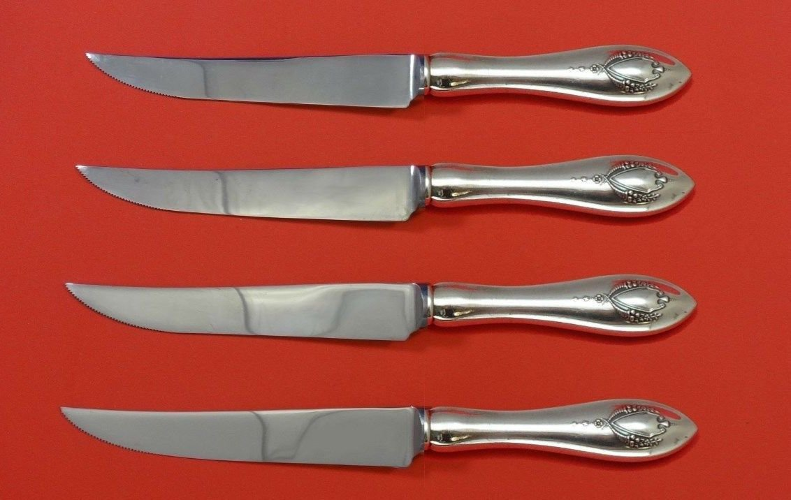 Mount Vernon by Lunt Sterling Silver Steak Knife Set 4pc HHWS  Custom 8 1/2""