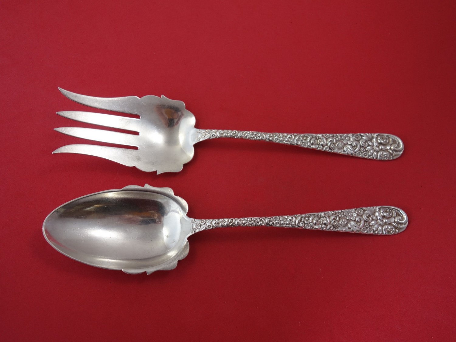 Repousse By Jacobi and Jenkins Sterling Silver Salad Serving Set 2-PC