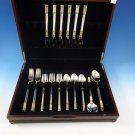 Aegean Weave Gold by Wallace Sterling Silver Flatware Set 6 Service 30 Pieces